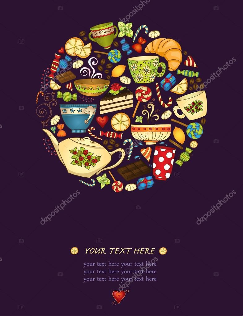 Tee, Kaffee und Süßigkeiten-Muster-Einladung — Stockvektor ...