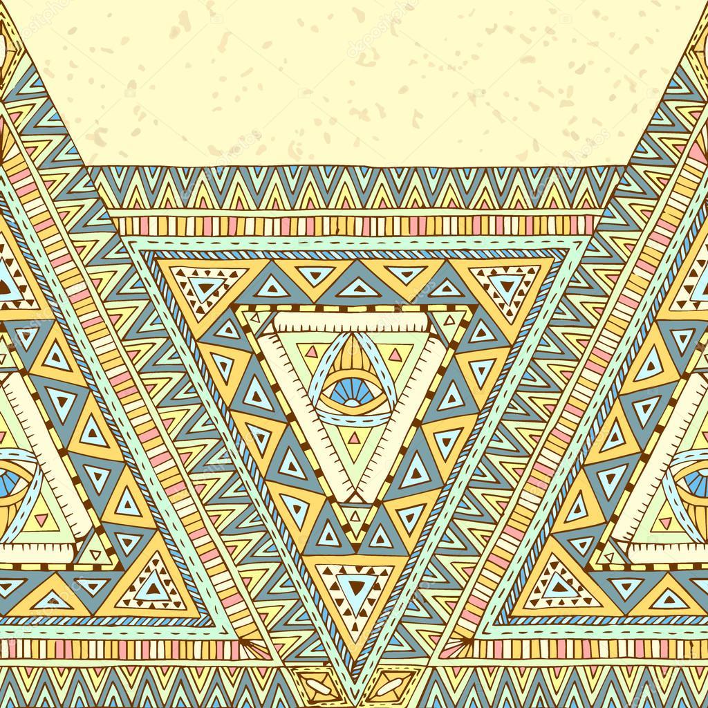 Tribal ethnic background with geometric elements.