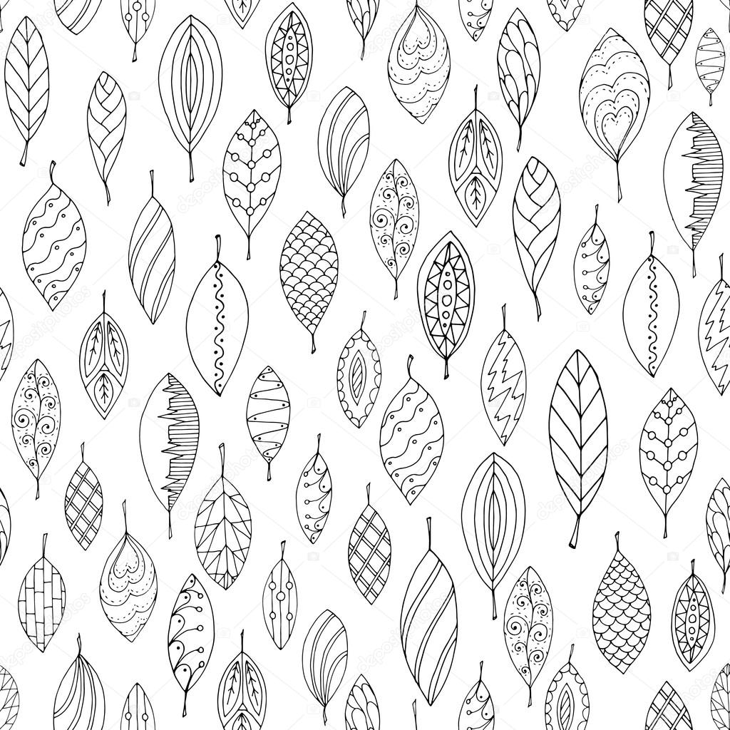 autumn white and black seamless stylized leaf pattern in doodle