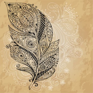 Artistically drawn, stylized, vector tribal graphic feathers with hand drawn swirl doodle pattern. Grunge background. Illustration is created from a personal sketch by trace. Series of doodle feather.