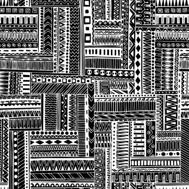 Abstract striped textured geometric tribal seamless pattern. Vector black and white background.