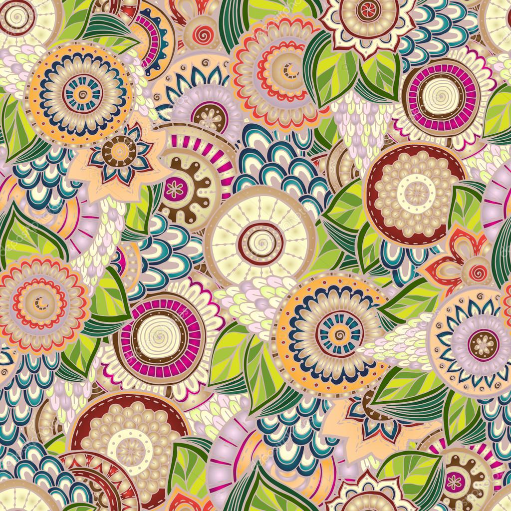 Seamless flower retro background in vector.