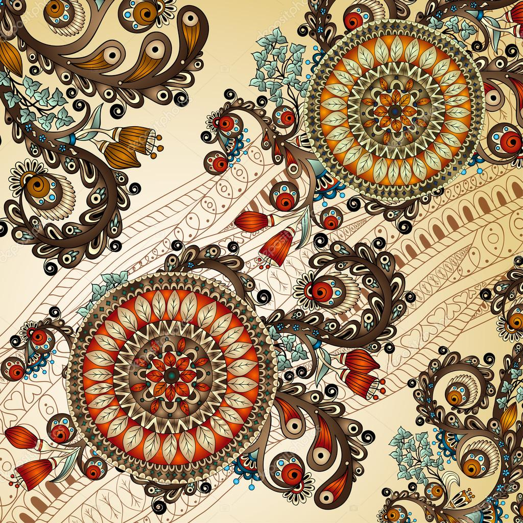 Abstract floral pattern with doodles and cucumbers