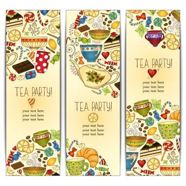 Banner templates vector collection. Tea party.