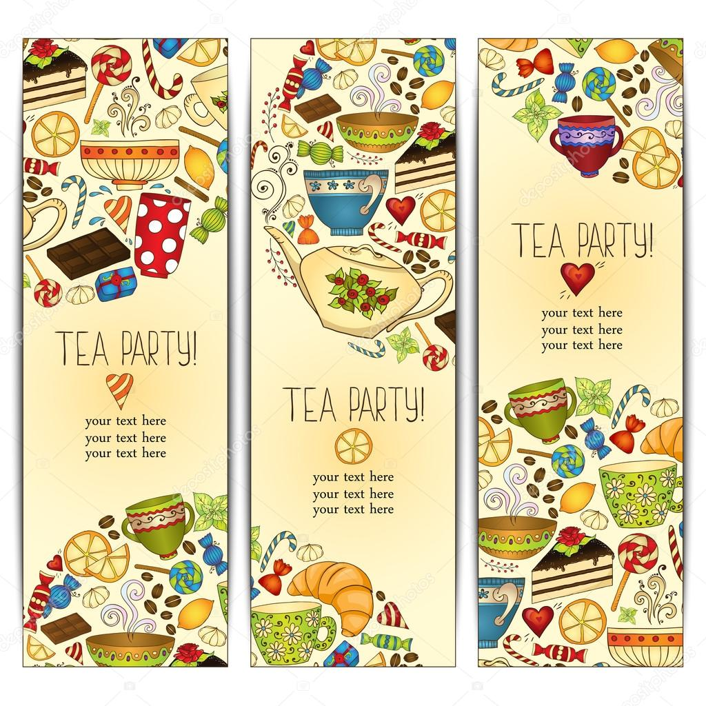 banner templates vector collection tea party stock vector