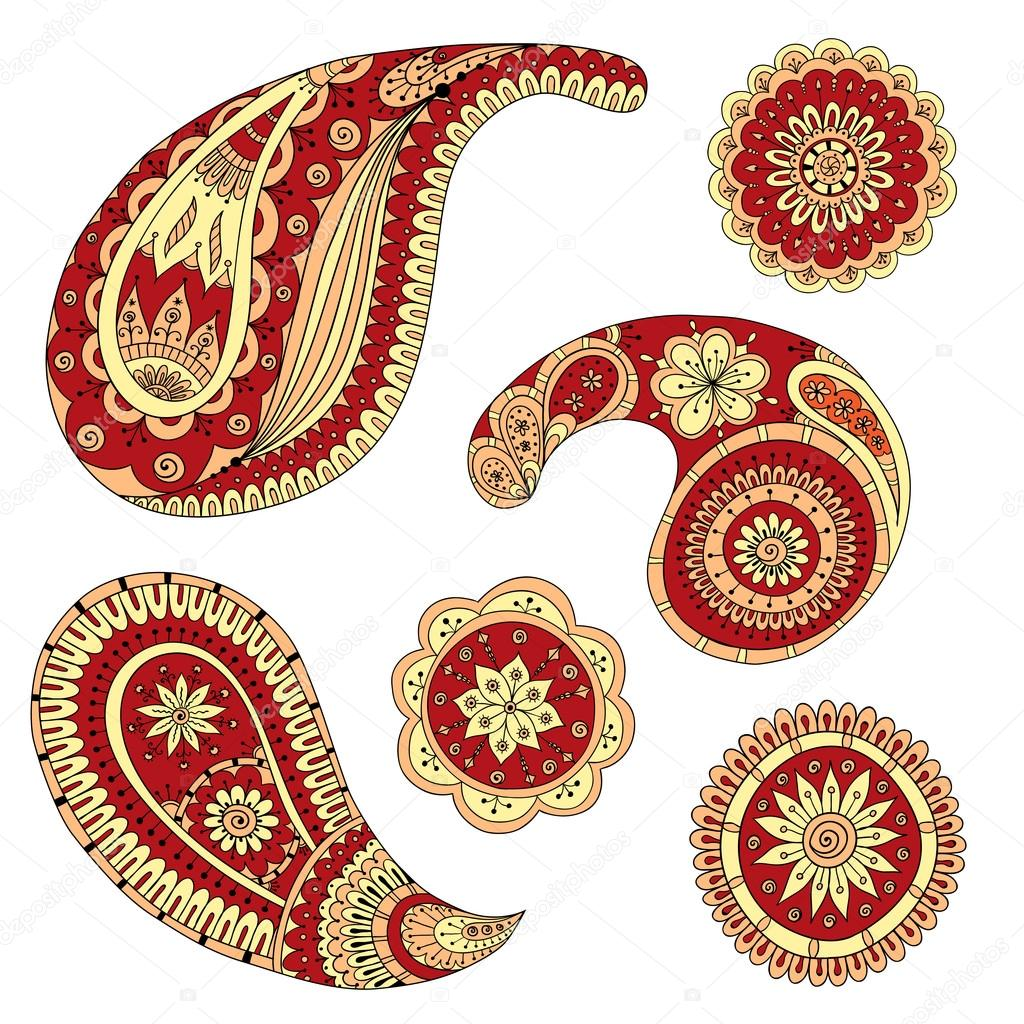 Henna Paisley Mehndi Vector Design Element.