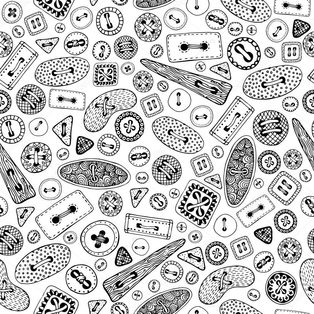 Dibujos animados Vintage coser botones de patrones sin fisuras ...