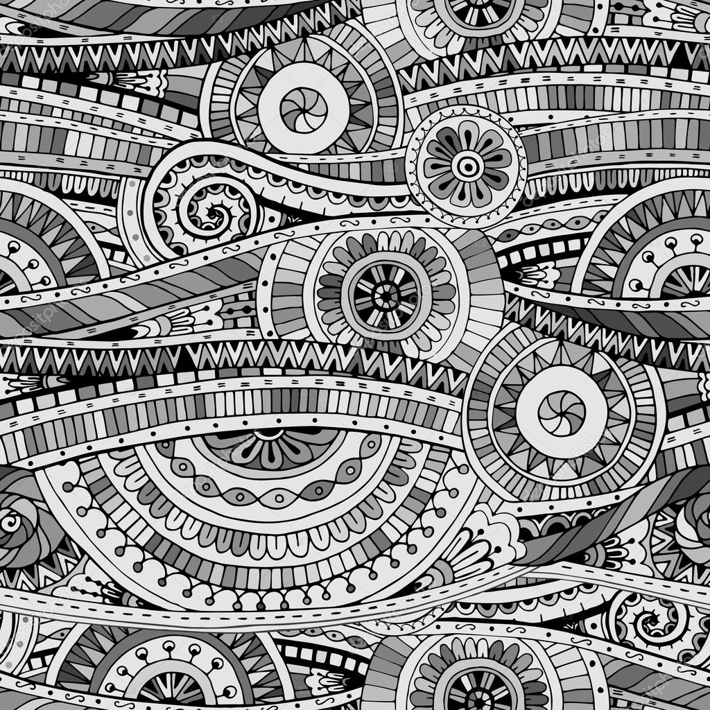 Tribal doddle ethnic seamless pattern.