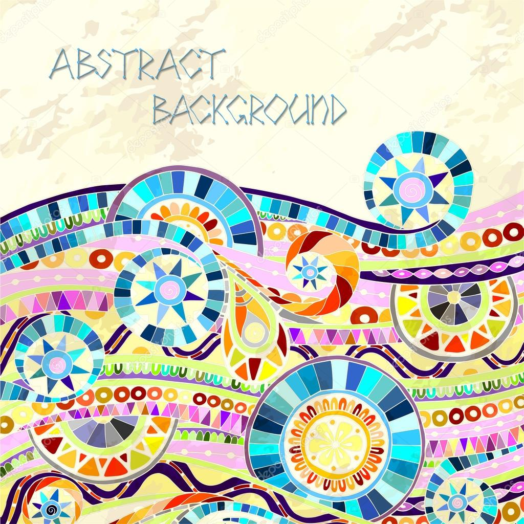 Background with geometric mosaic elements.
