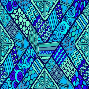 Tribal doddle rhombus seamless background.
