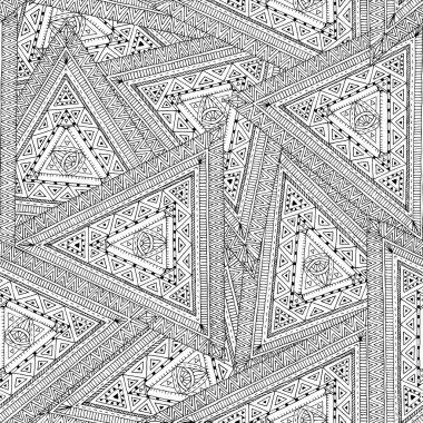 Tribal doddle ethnic seamless pattern.