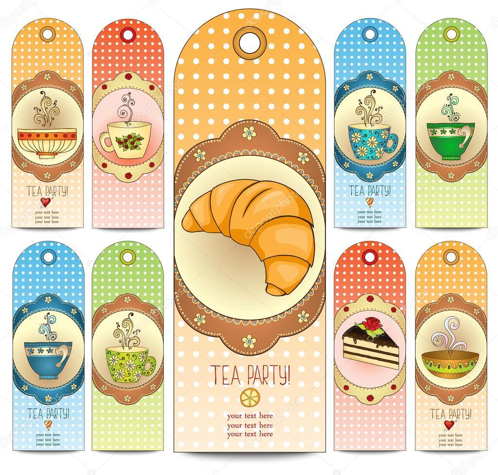 Satz von Tee und Süßigkeiten doodle Vorlage Einladungen ...