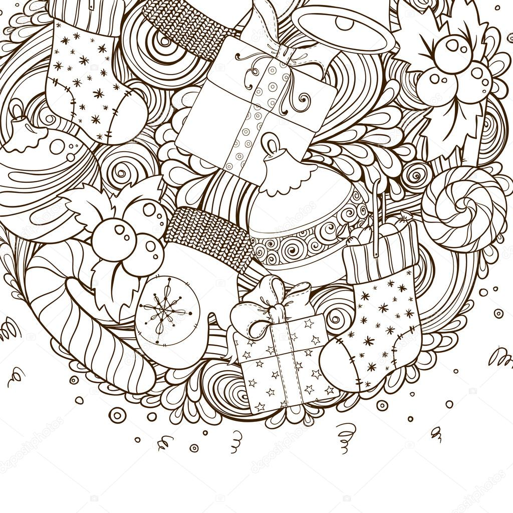 Merry Christmas Holiday Circle Composition Stock Vector