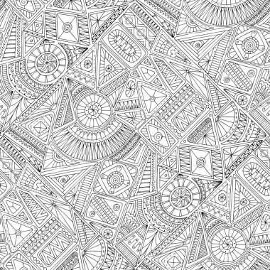 Seamless asian ethnic floral retro doodle black and white background pattern in vector. Henna paisley mehndi doodles design tribal black and white pattern. Used clipping mask for easy editing.