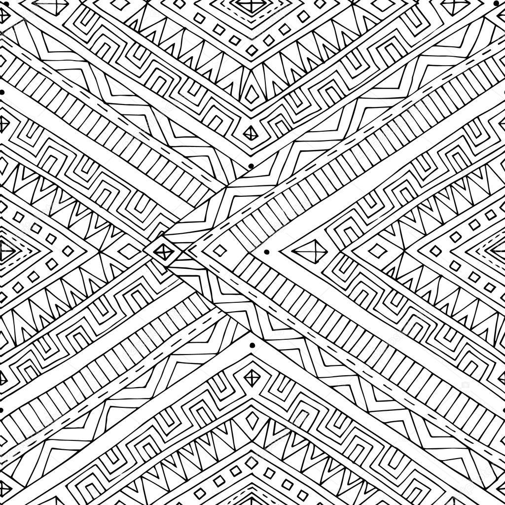 sans soudure ethnique asiatique doodle motif noir et blanc. Black Bedroom Furniture Sets. Home Design Ideas