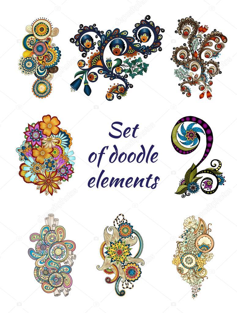 Set of Henna Paisley Mehndi Doodle Element.