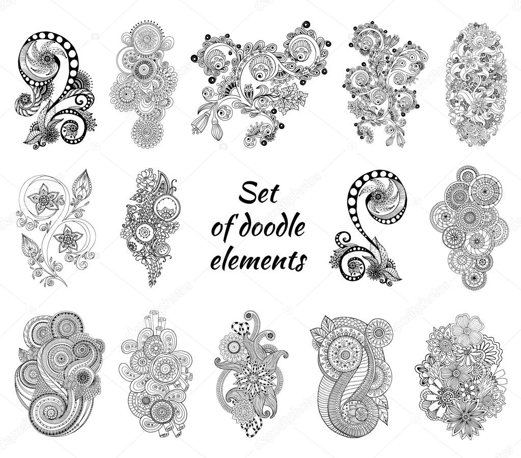 Set of Henna Paisley Mehndi Doodles Element.