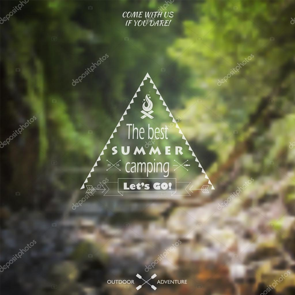 Vector blurred landscape background with camping label.