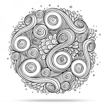 Asian ethnic floral retro doodle background pattern circle in vector. Henna paisley mehndi doodles design tribal design element. Black and white. stock vector