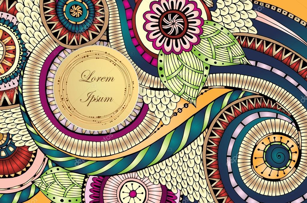 Henna Mehndi Vector : Abstract asian ethnic floral retro doodle pattern u2014 stock vector