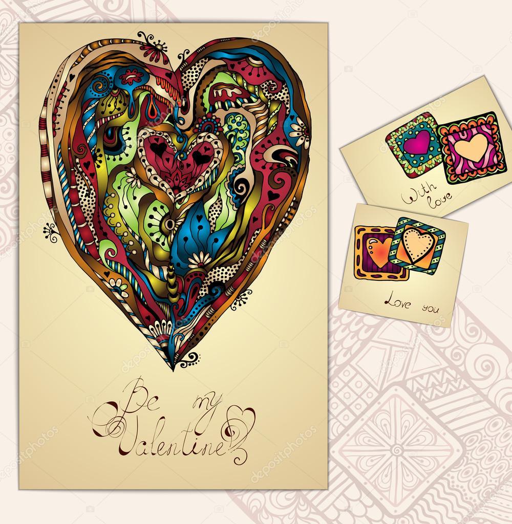 Set of doodle tribal love cards. Ethnic pattern.