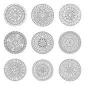 Fotografie Runde Ornamente Satz von Doodle-mandalas