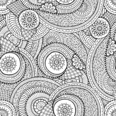 Seamless asian ethnic floral doodle black and white pattern
