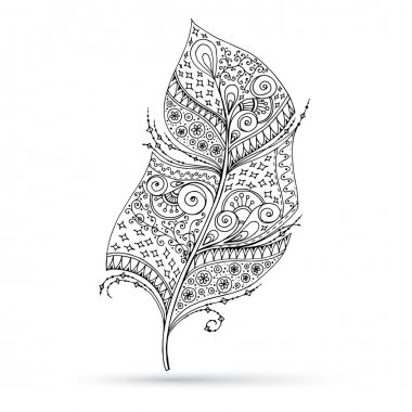 Artistically drawn, stylized, vector feather on a white background.