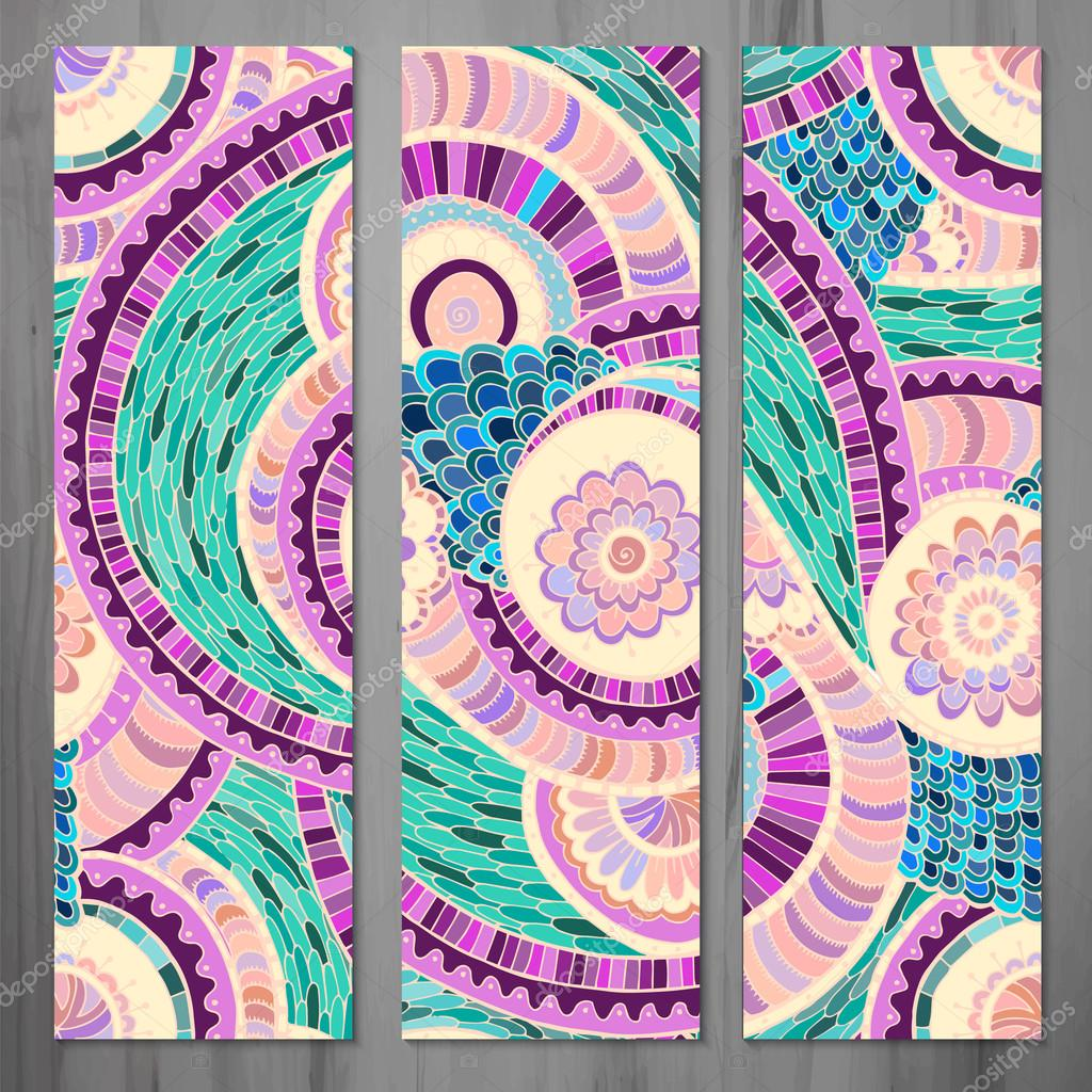 Set of three abstract ethnic doodle vector cards.