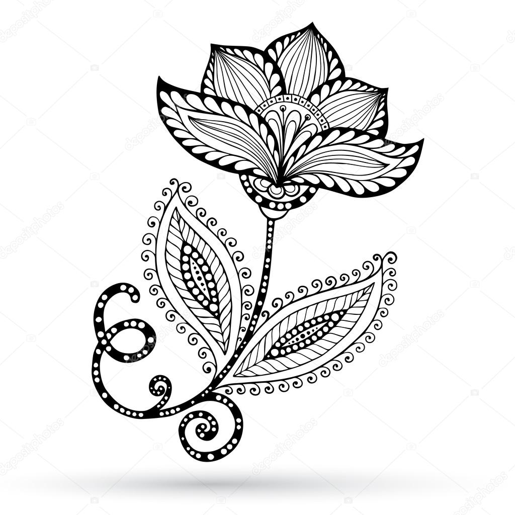 Henna Paisley Mehndi Doodles Abstract Floral Vector Illustration Design Element.