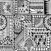 Fotografie Seamless  floral doodle black and white background pattern in vector.