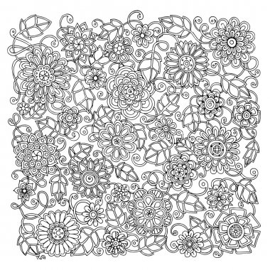Ethnic floral retro doodle background pattern circle in vector.