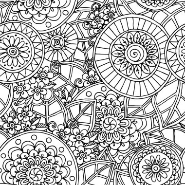 Seamless  floral doodle black and white background pattern in vector.