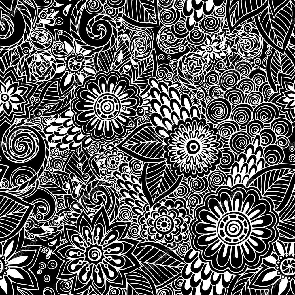 seamless ethnic floral retro doodle black and white background