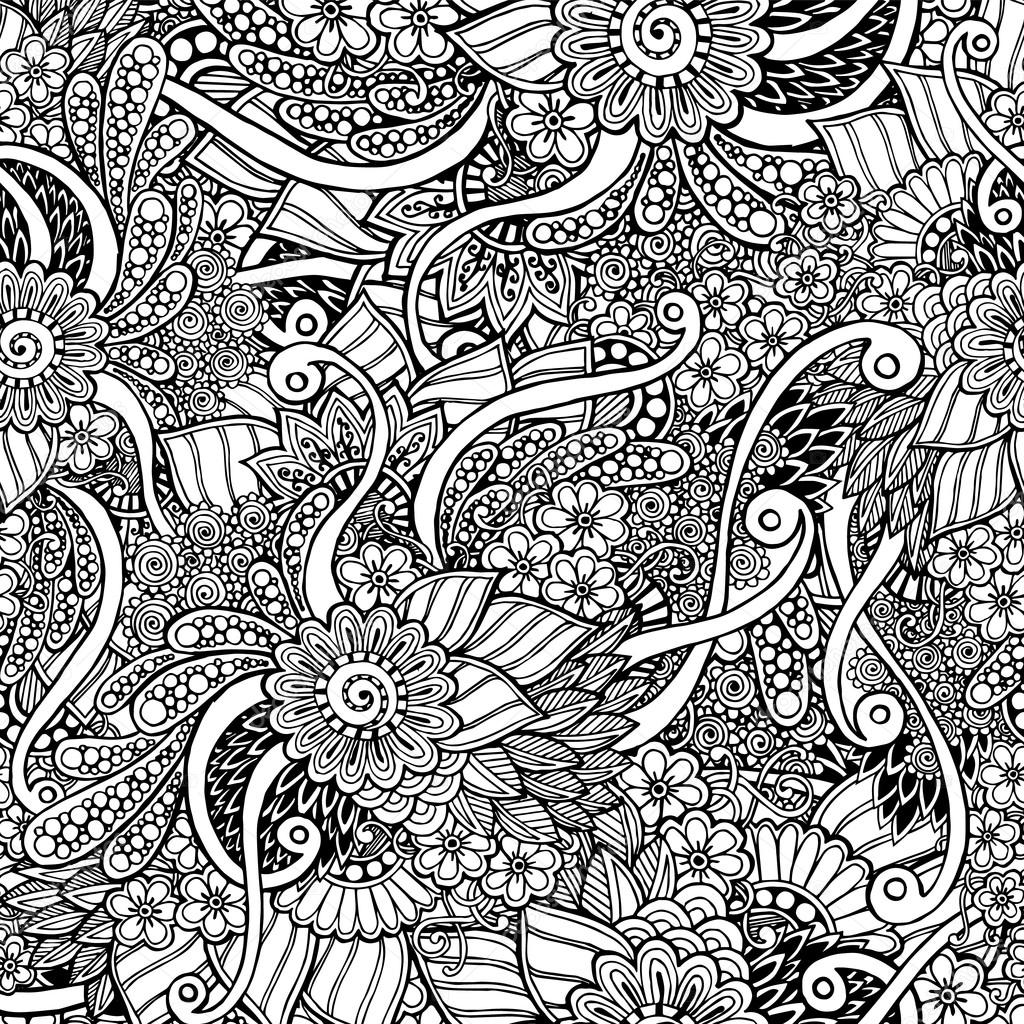 seamless asian floral doodle black and white pattern in vector
