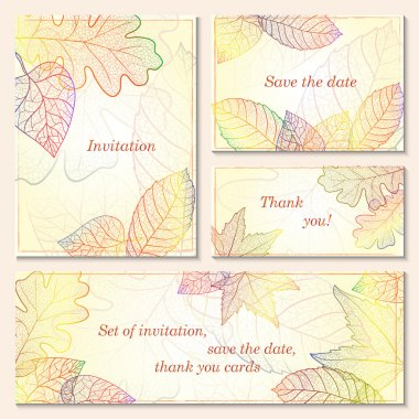 Invitation, save the date cards with autumn leaves