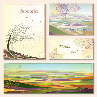 Invitation card with autumn landscapes.