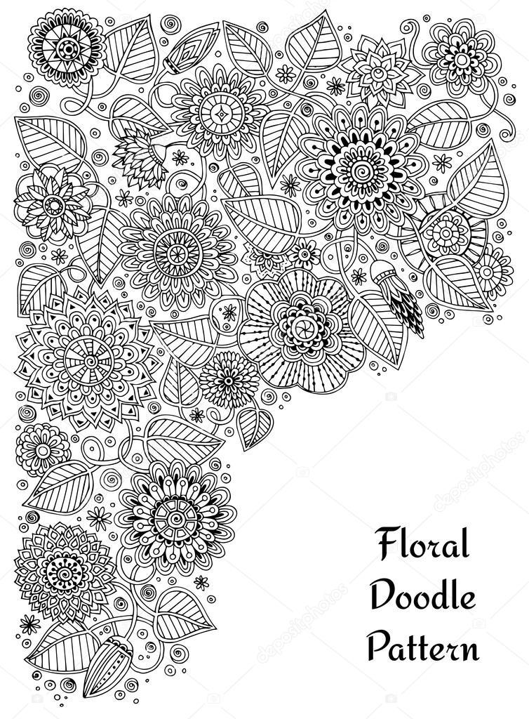 Zentangle floral étnico, círculo de patrón de fondo de doodle en ...