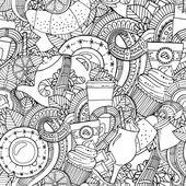 Fotografie Kaffee und Tee doodle Hintergrund in Vektor mit Paisley. Nahtlose Zentangle Muster kann für Menü, Tapete, Musterfüllungen, Malbücher und Seiten für Kinder und Erwachsene verwendet werden. Schwarz und weiß