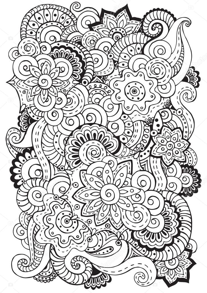 Doodle Background In Vector With Doodles Flowers And