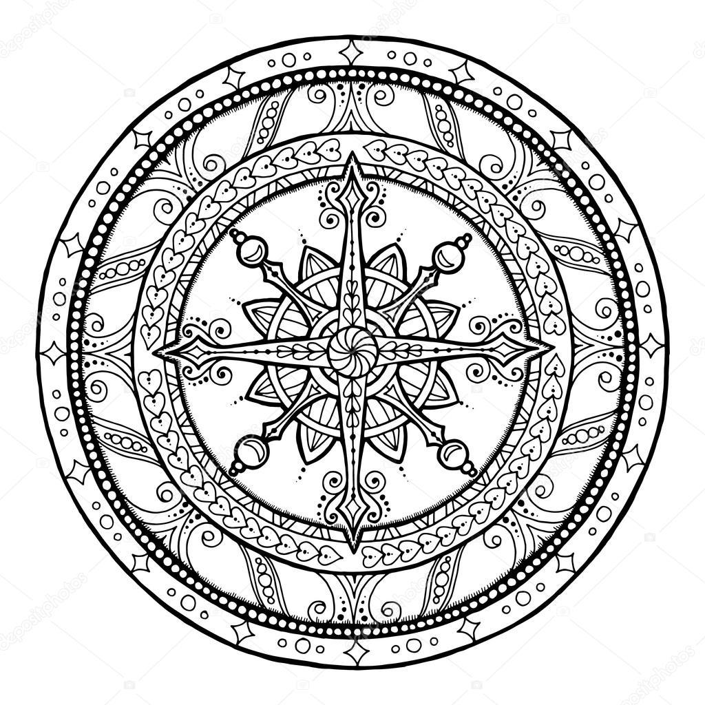 Doodle en étnica mandala de Navidad copo de nieve — Vector de stock ...