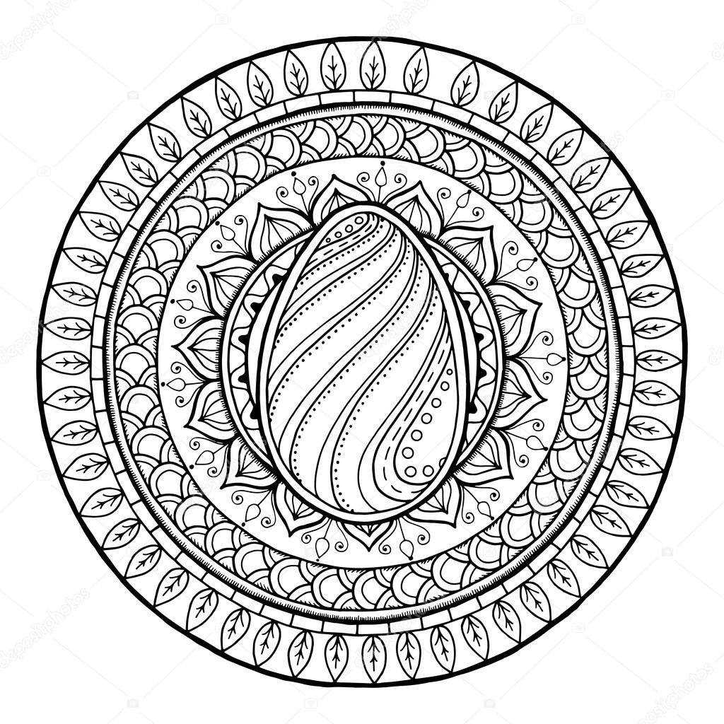 Circle tribal doodle mandala with easter egg.