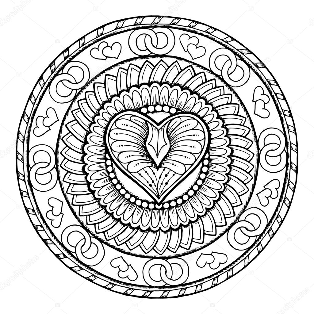 Circle tribal doodle ornament with love heart.
