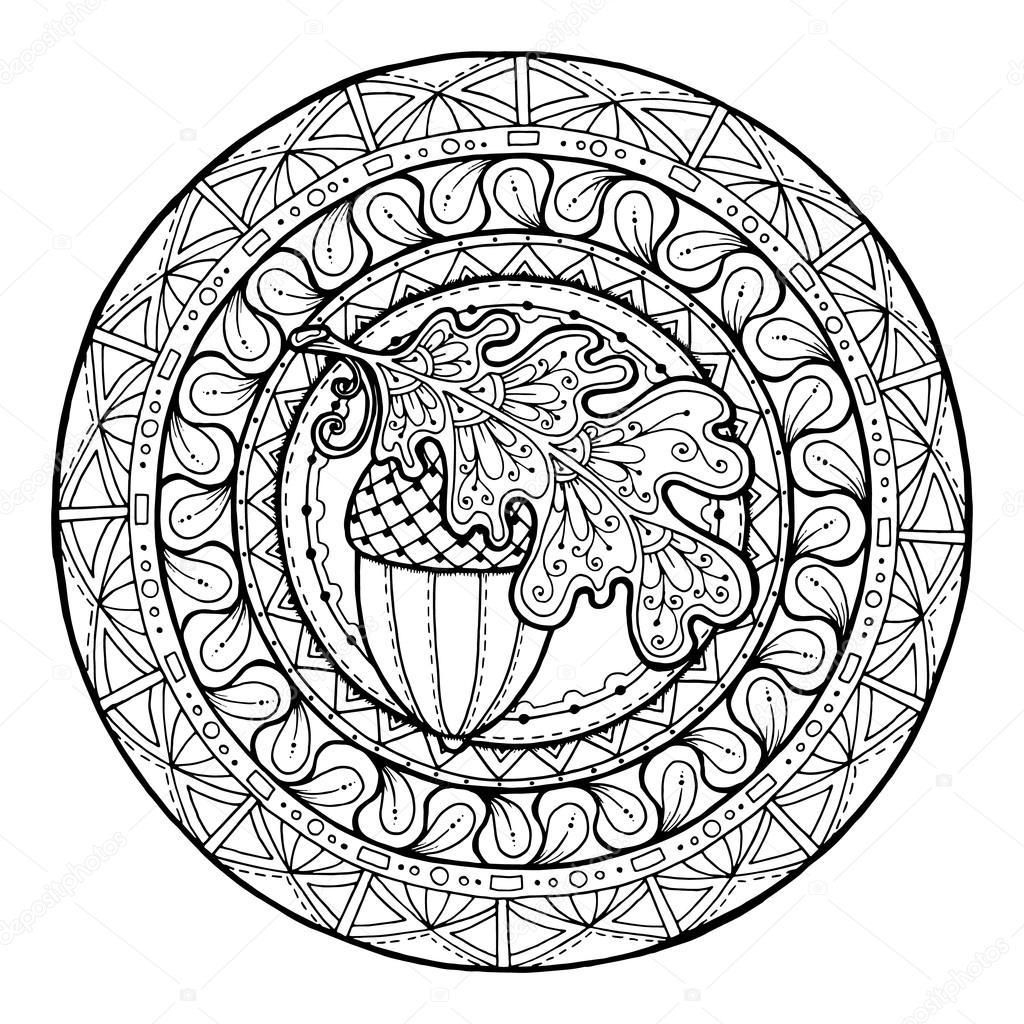 Kleurplaten Herfst Mandala.Mandala Herfst