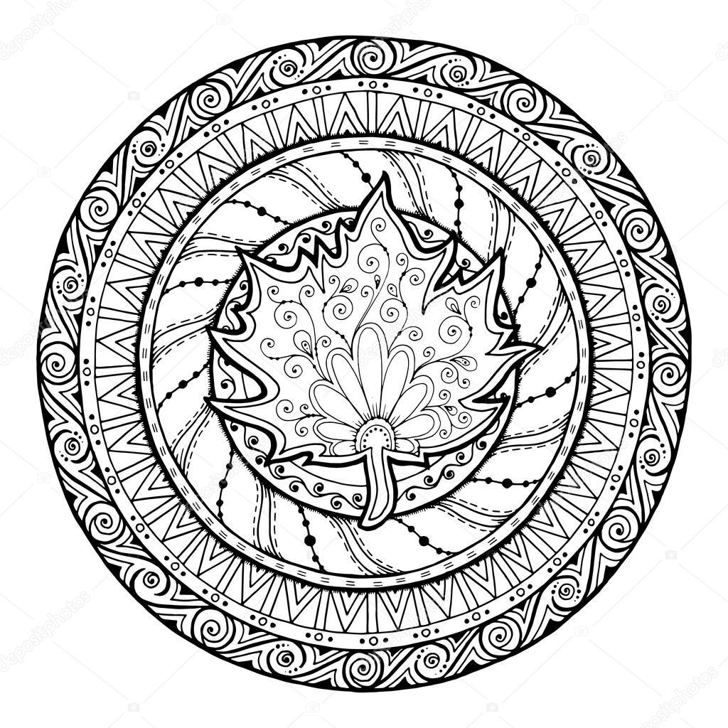 Herbst Mandala Stammes Gekritzel Mit Ahornblatt Stockvektor