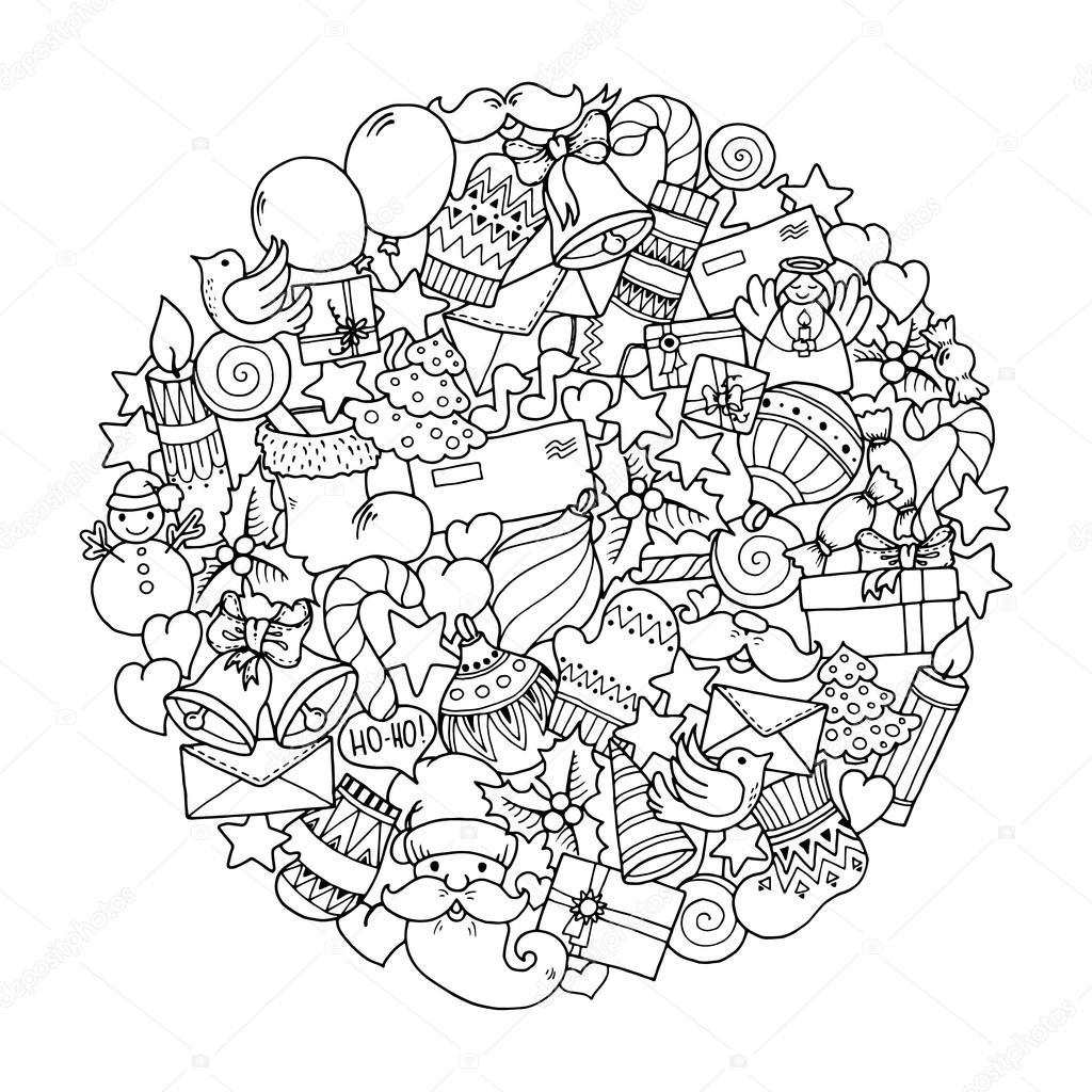 kerstthema doodle winter mandala stockvector