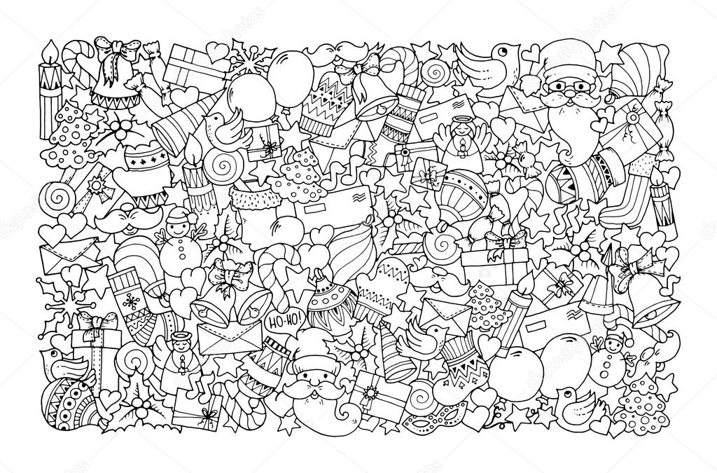 Christmas theme. Doodle winter pattern.