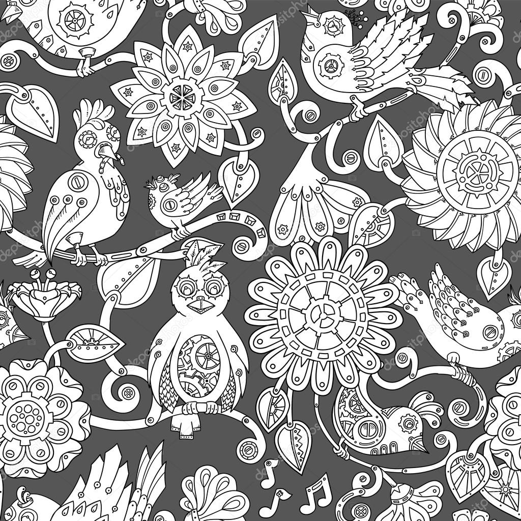 Doodle seamless background with steampunk birds and flowers.