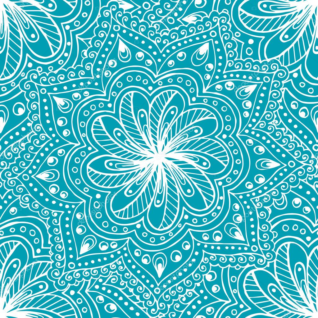 Doodle seamless background in vector with doodles, flowers and paisley.