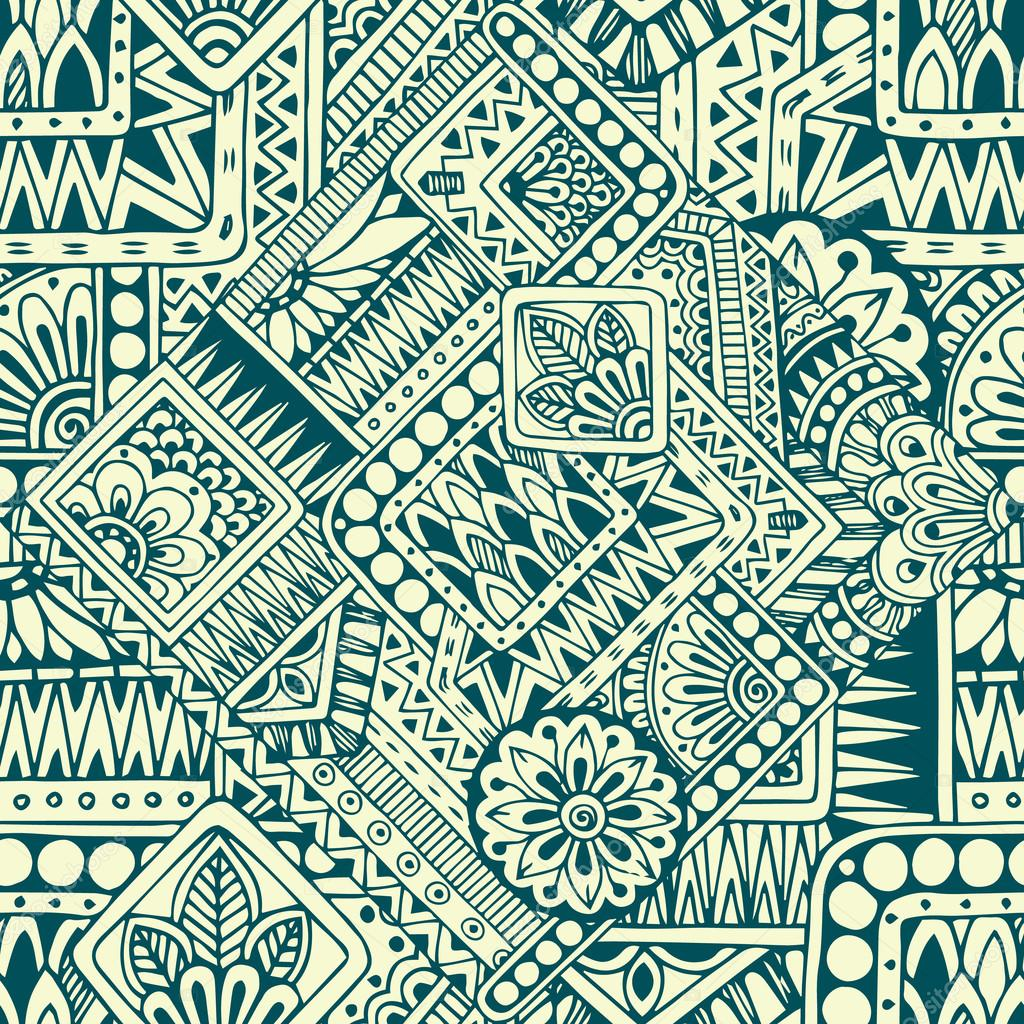 Seamless asian ethnic floral retro doodle pattern in vector. Background with geometric elements.
